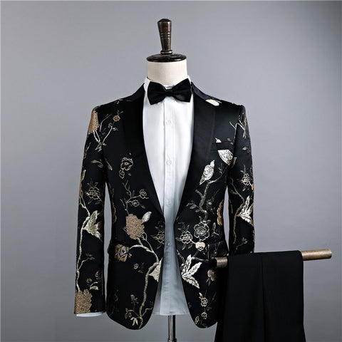 2018 Men Classic Wedding Suits Golden Flower Embroidery Prom Party