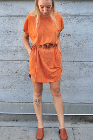 Rust Orange T-Shirt Dress With Pockets