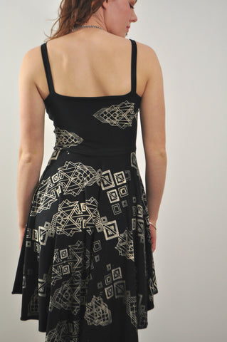 Sweetheart Pocket Dress with Tribal Geo Print