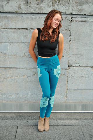 Teal Rose Print Jersey Leggings
