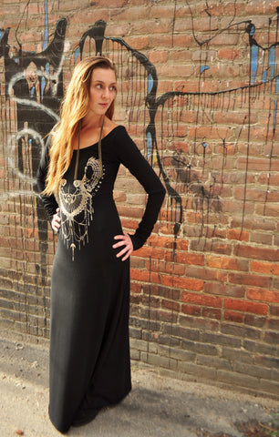 Black Empress Owl Long Sleeve Maxi Dress