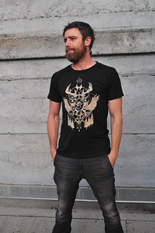 Men's Black Bamboo Jersey T-Shirt With Totem Style Print