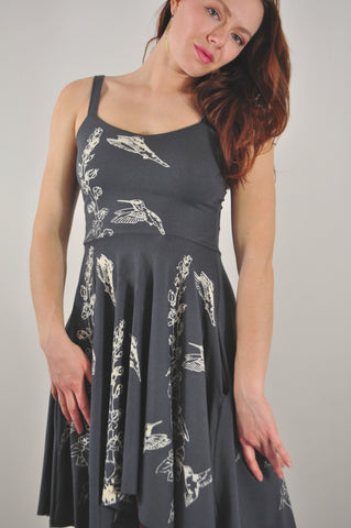 Sweetheart Pocket Dress with Hummingbird and Hollyhock Print