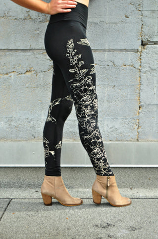 Hummingbirds and Hollyhocks Yoga Leggings