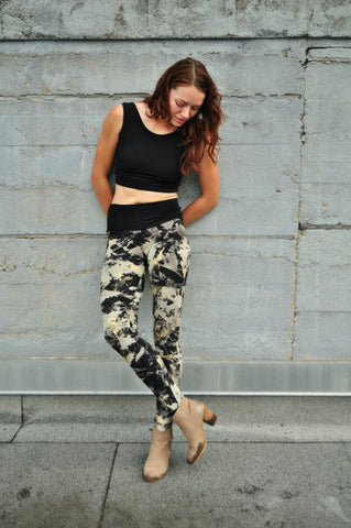 Luxe Distressed Black Bamboo Yoga Leggings