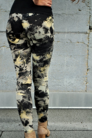 Luxe Distressed Black Bamboo Jersey Leggings