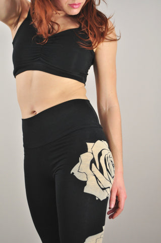 Black Rose Print Jersey Leggings / Fabric Back Ordered Ships Late May