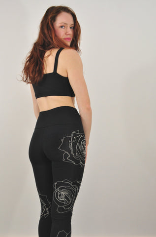 Black Rose Outline Print Jersey Leggings / Fabric Back Ordered Ships Late May