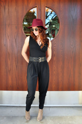 Black Bamboo Cross Over Top Jumpsuit
