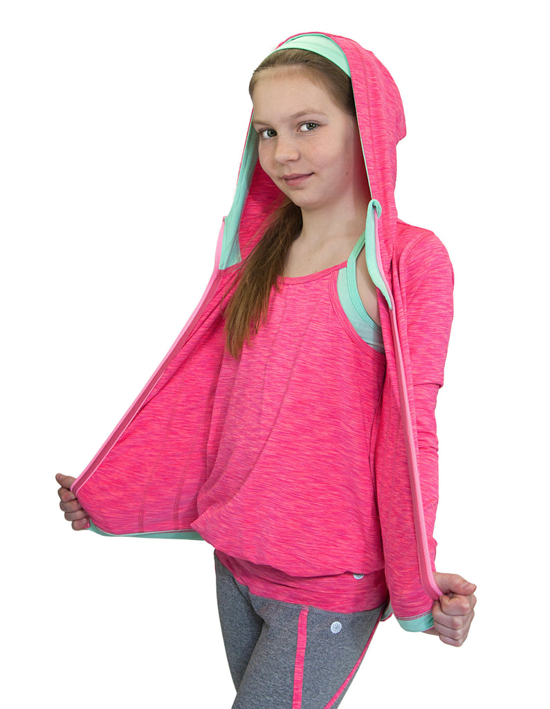 GIRLS HEATHERED HOODED YOGA JACKET
