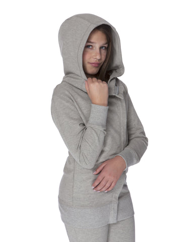 GIRLS ASSYMETRICAL ZIP COTTON HOODY