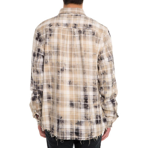 Men's Bleached Plaid Woven Shirt