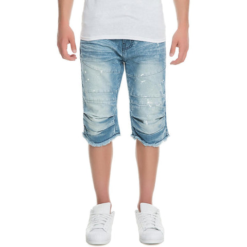 JS 7340 Men's Denim Knee Rip Shorts