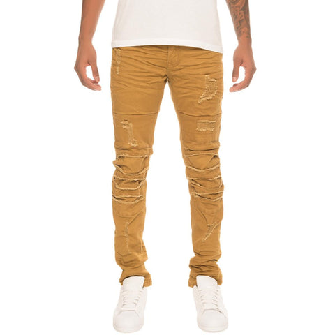 Men's Wheat Ripped Denim Jeans