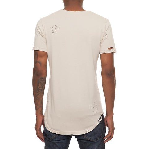 Men's Beige Ripped Scallop T-Shirt