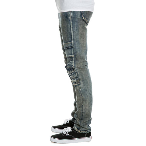 Men's Pleated Knee Jean Pants