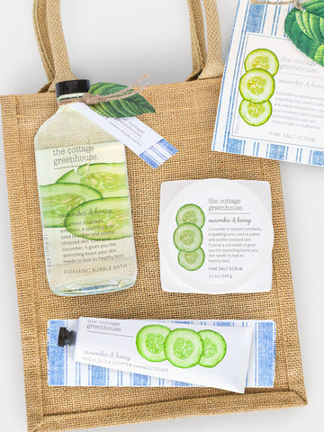 Cucumber & Honey Sea Salt Scrub, Bubble Bath and Hand Cream Gift Trio by The Cottage Greenhouse