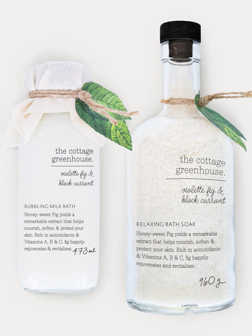 Fig Bubbling Milk Bath and Relaxing Soak Holiday Gift Duo | The Cottage Greenhouse