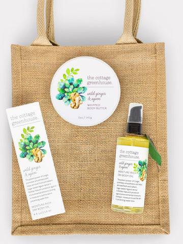 Wild Ginger & Agave Body Butter and Dry Body Oil Gift Duo plus Jute Tote
