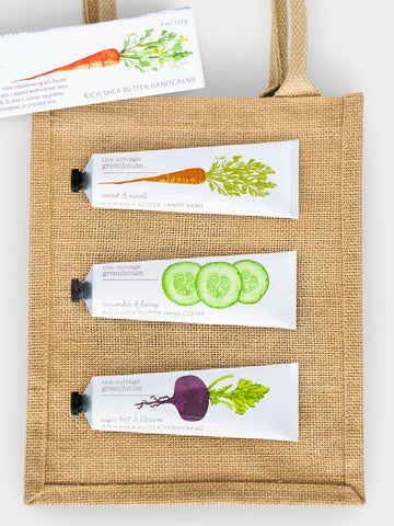 Hand Cream Gift Set Trio plus Jute Tote Bag: Carrot & Neroli, Cucumber & Honey, and Sugar Beet & Blossom Hand Cream