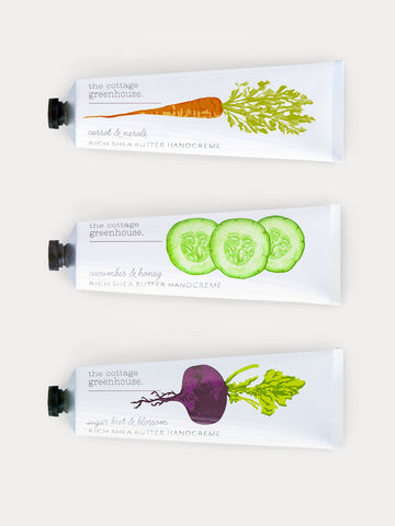 Hand Cream Gift Set Trio: Carrot & Neroli, Cucumber & Honey, and Sugar Beet & Blossom Hand Cream