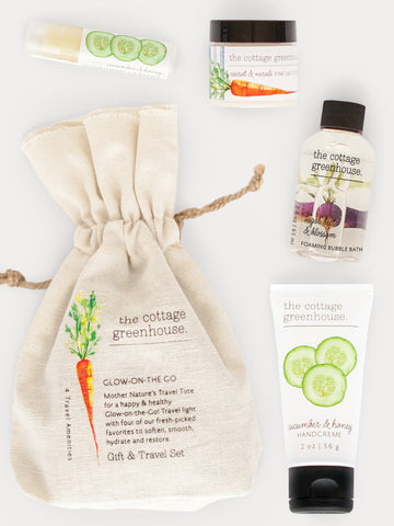 Veggie Travel Gift Set featuring Shea Butter Hand Cream, Bubble Bath, Sea Salt Scrub, and Lip Balm Repair by The Cottage Greenhouse