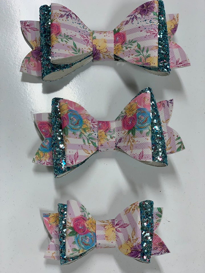 Pink Strip Floral Hair Bows- 3 Options