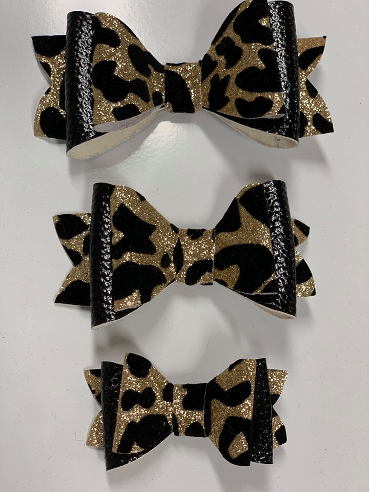 Black & Gold Leopard Hair Bow- 3 Options