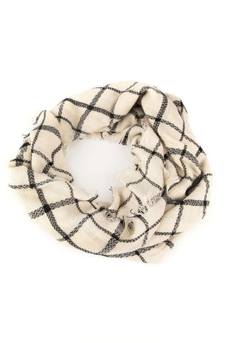 Cream Plaid Scarf