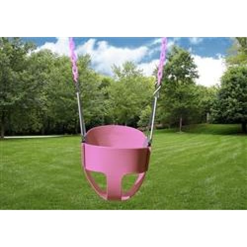 Pink Infant Swing with Chain - Full Bucket Swing - WePlayAlot