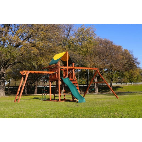 Wrangler Swing Set with Overhead Climber Rope Ladder Tarp Roof - WePlayAlot