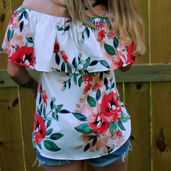 Adrienne | Floral Poplin off the Shoulder Top