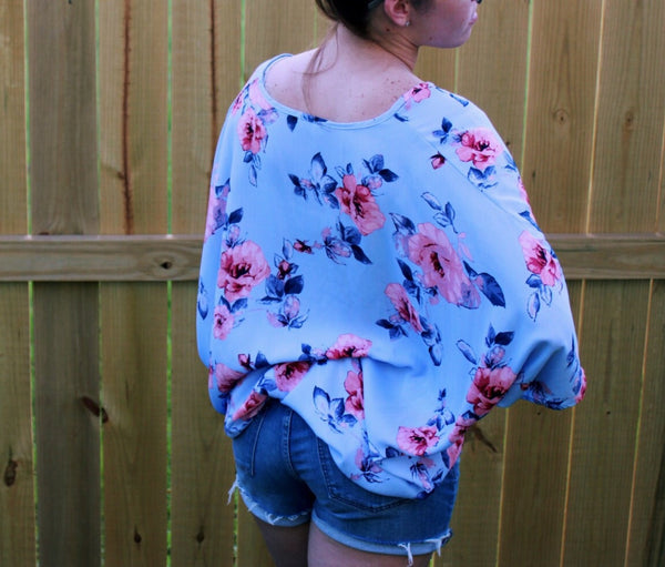 Adrienne | Floral Print Oversized V-Neck Top