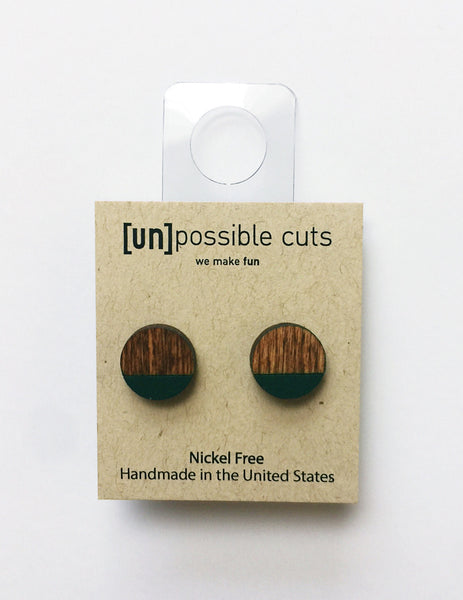 [un]possible cuts | Dipped Earrings Chestnut and Green