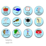 Visual reminder 12 fridge magnet set for adults - Badge Bliss