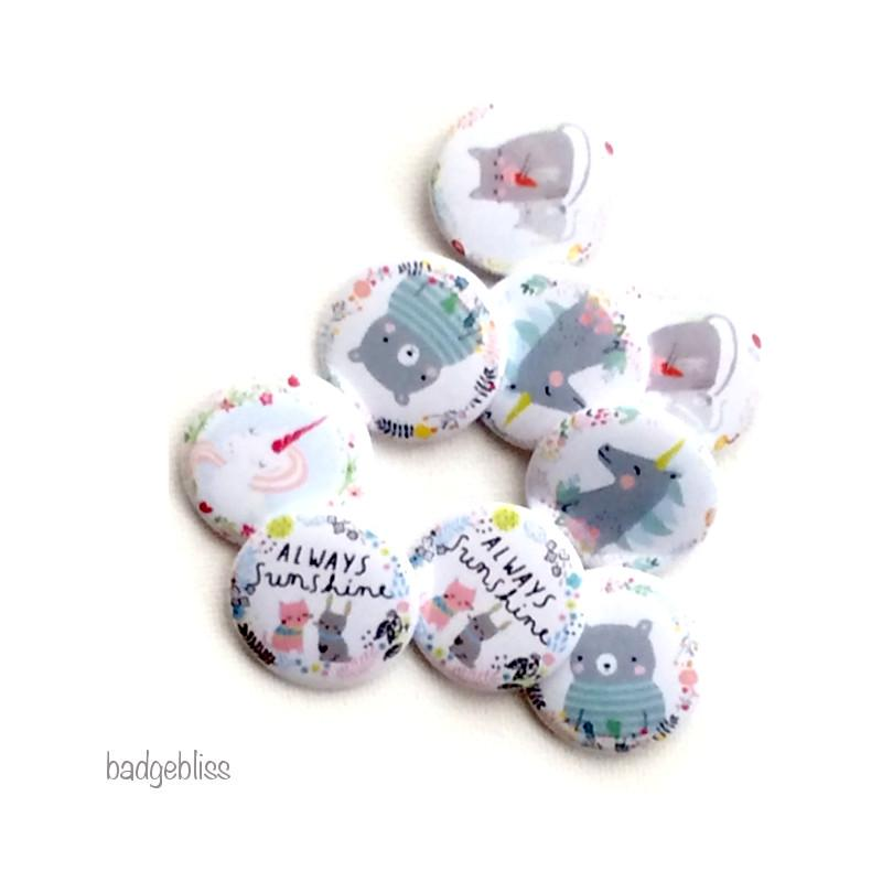 Cute animal badges