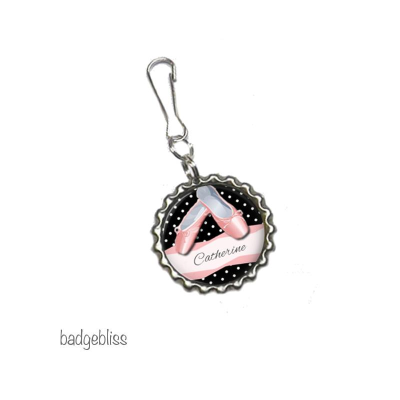Ballet zip pull, bag charm - badge-bliss