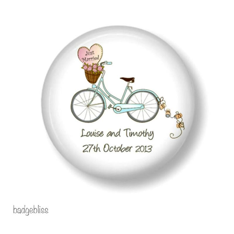 Wedding favour fridge magnets Bike - badge-bliss