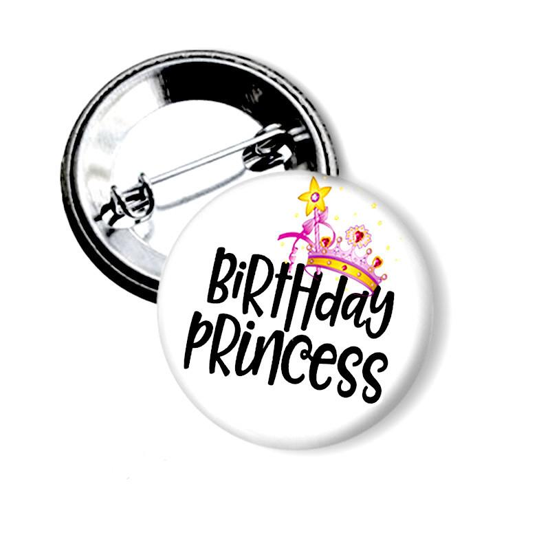 Birthday Princess button badge
