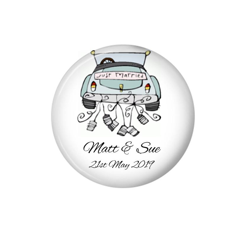 Blue Wedding Car fridge magnets