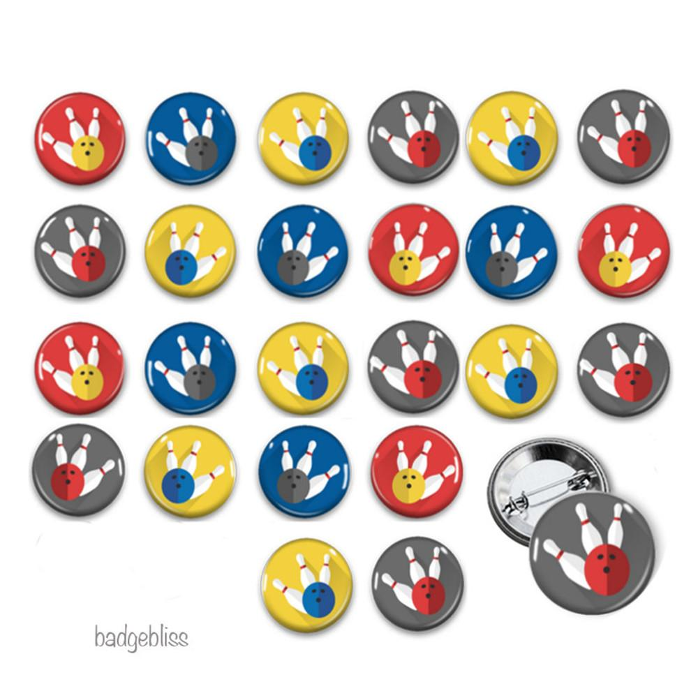 Bowling party badges