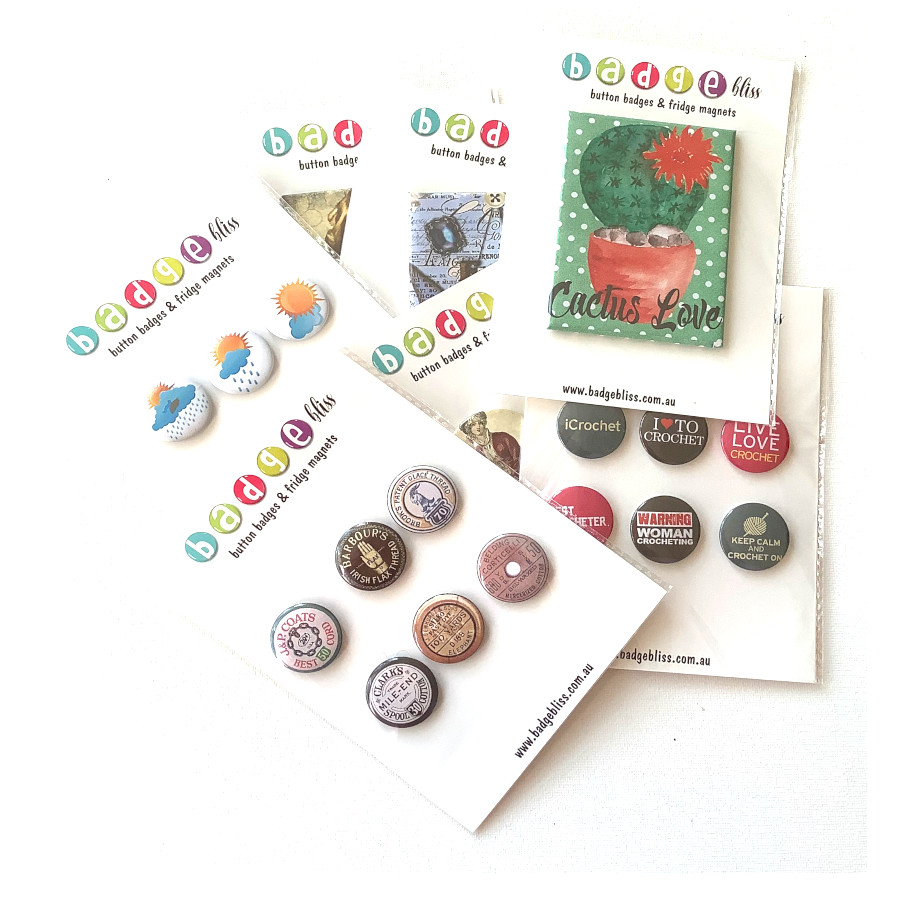 Retro mixed media fridge magnets
