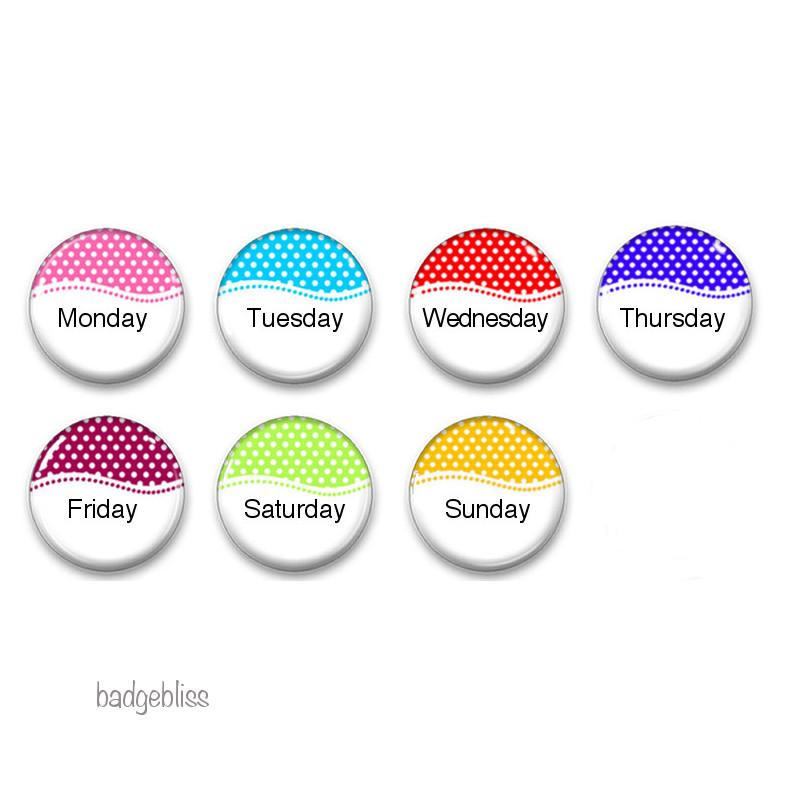 Polka dot Days of the Week fridge magnets