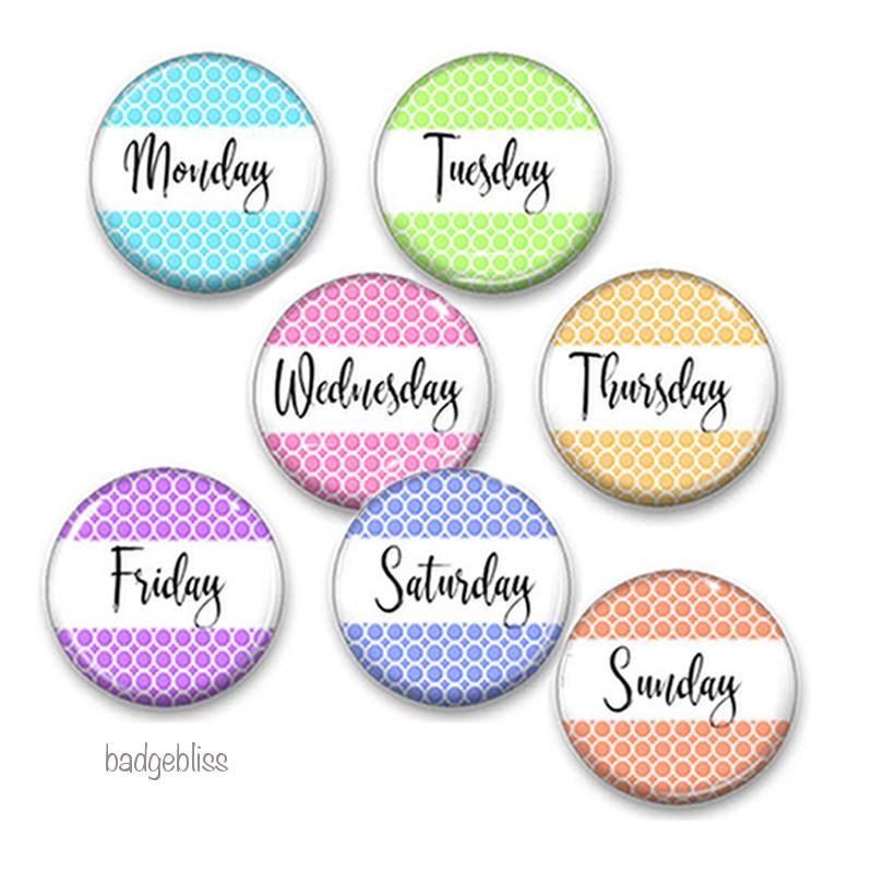 Days of the Week fridge magnets - badge-bliss