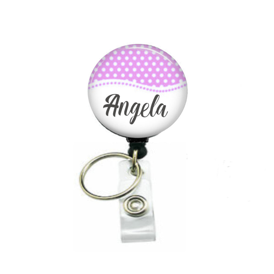 Personalised dot ID badge reel with keyring