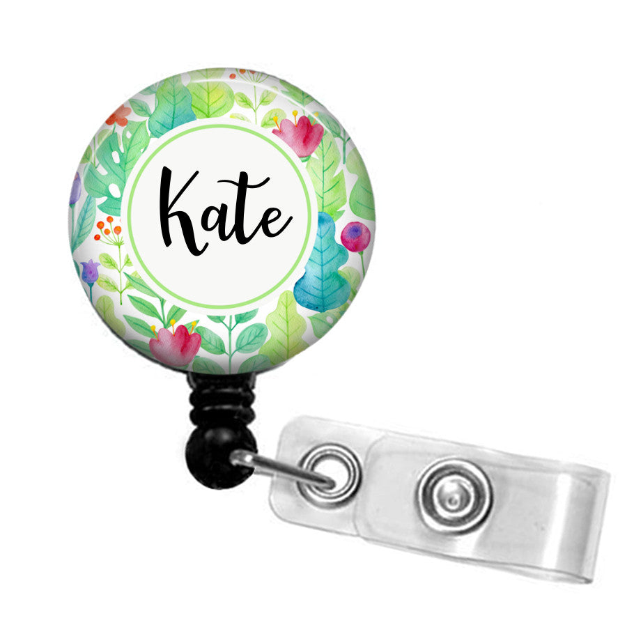Personalised floral retractable badge reel - badge-bliss