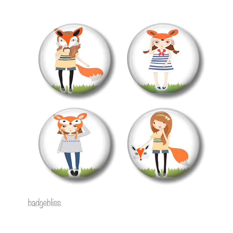 Fox Girls badges or fridge magnets