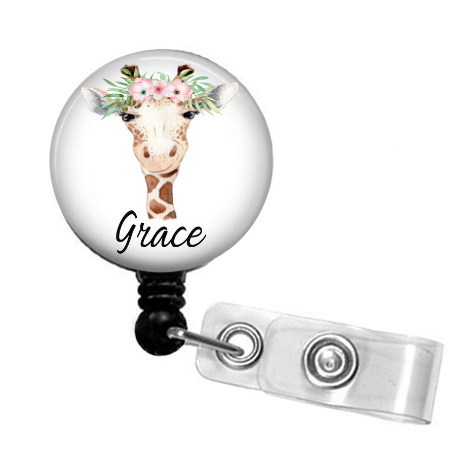 Personalised Giraffe  ID badge reel
