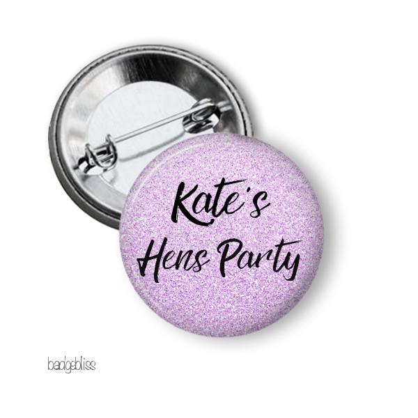 Purple glitter Hens party badges - badge-bliss