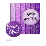 Purple glitter Hens party badges